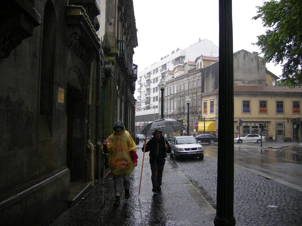 Salida de Oporto con mucha lluvia