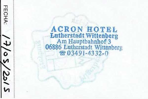 Sello del Hotel Acron, de Wittenberg