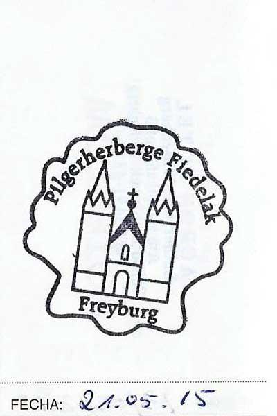 Sello del albergue de Freyburg