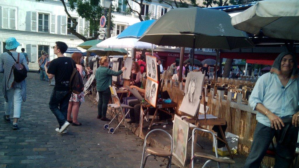 Puestos de artistas en Montmartre