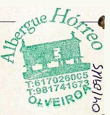 Sello del albergue Hórreo de Olveiroa