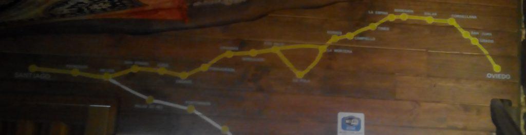 El Camino Primitivo en el mapa del albergue de Bodenaya