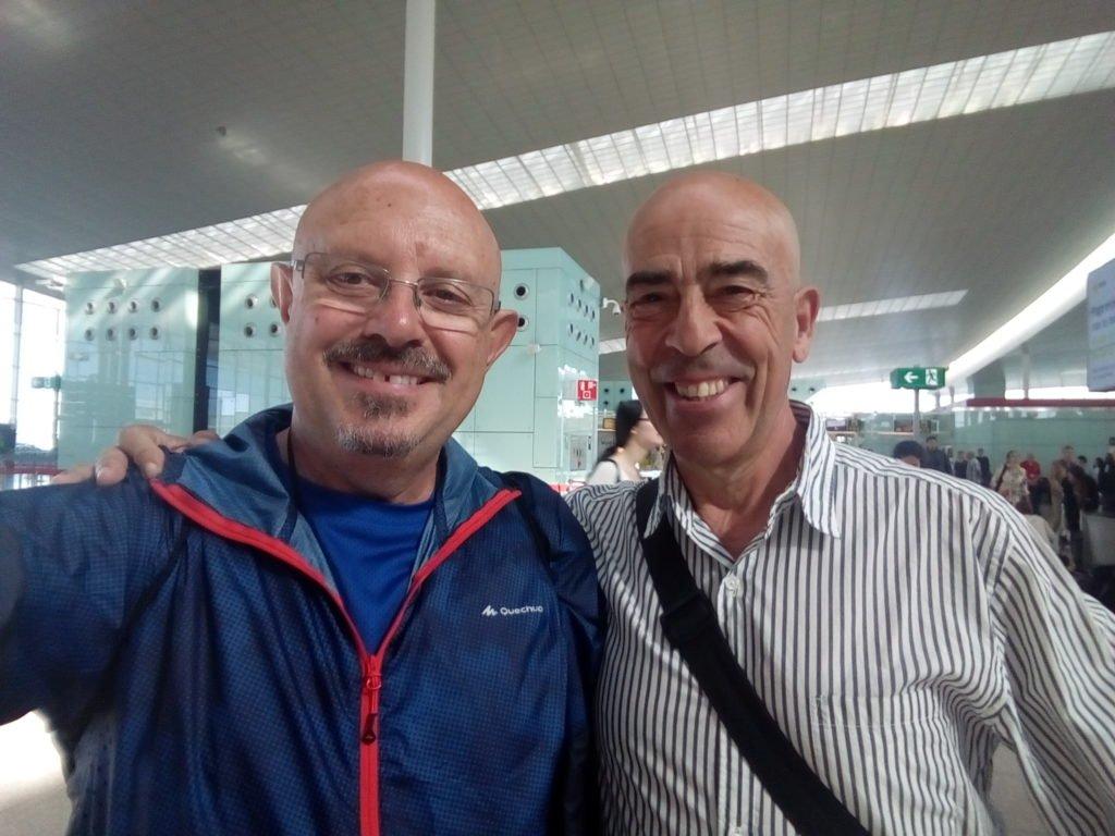 Con mi amigo Salvador en el aeropuerto de Barcelona