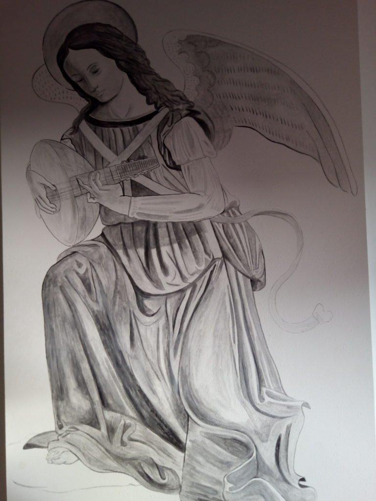 Un ángel tocando el laúd