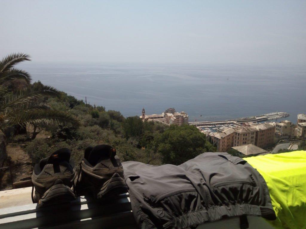 Vistas desde la ventana del albergue de Camogli