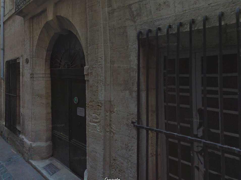 Entrada del   Albergue de San Roque en Montpellier. Google Maps