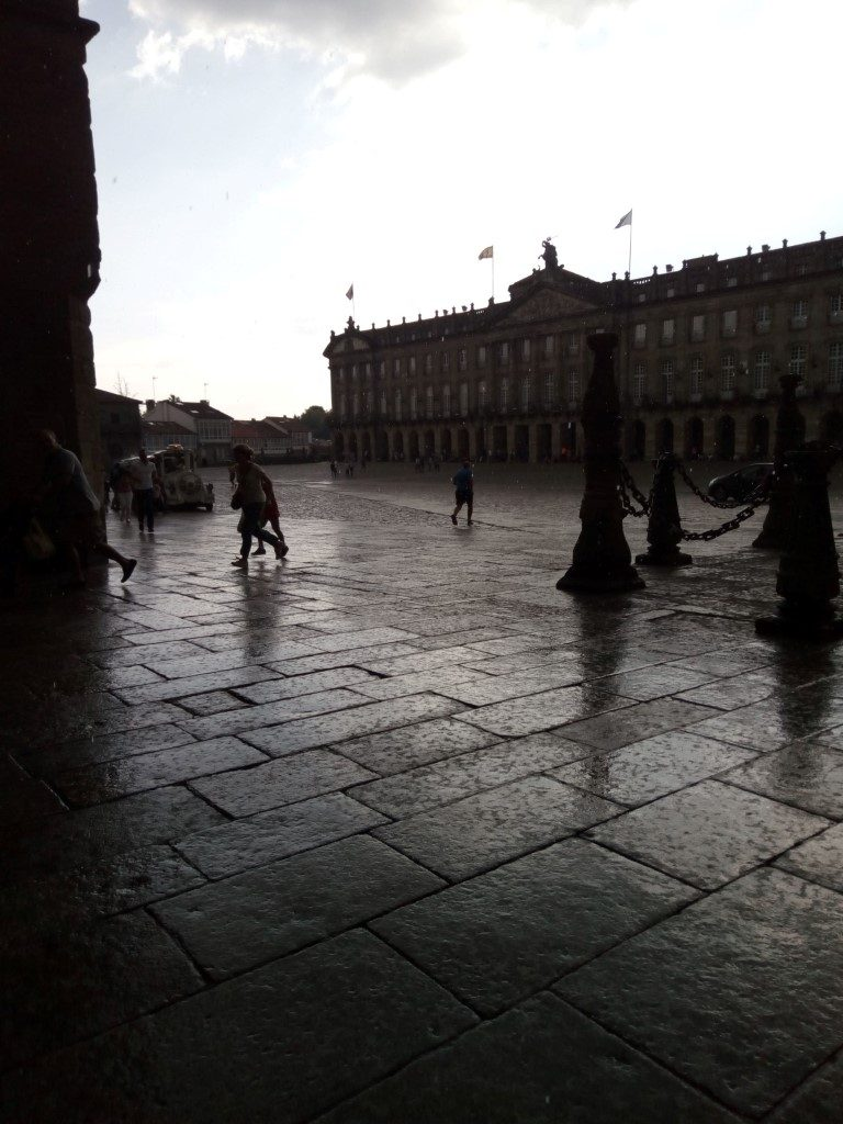 Plaza del Obradoiro bajo la lluvia. Santiago de Compostela