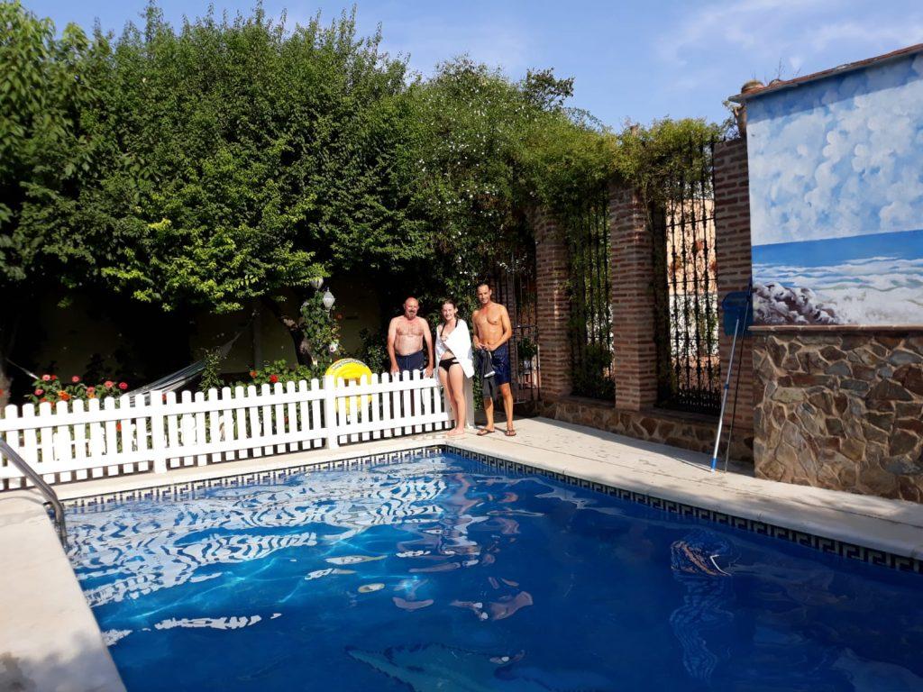En la piscina del Zaguán de la Plata. Fuente de Cantos