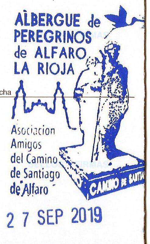 Sello del Albergue de Peregrinos de Alfaro. Asociación de amigos del Camino de Santiago de Alfaro