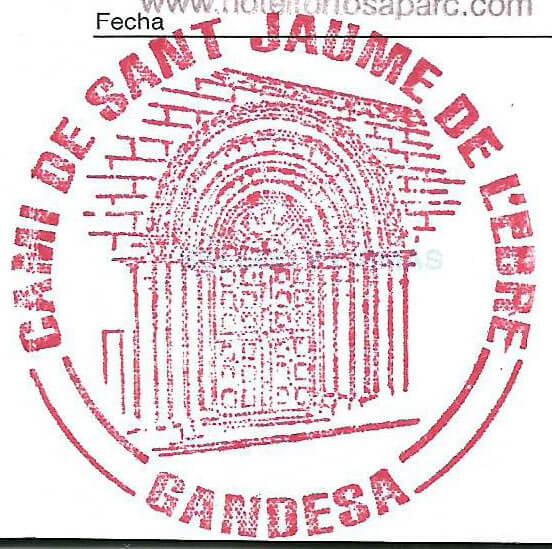 Este es el sello que me ponen en la Oficina de Información y Turismo de Gandesa