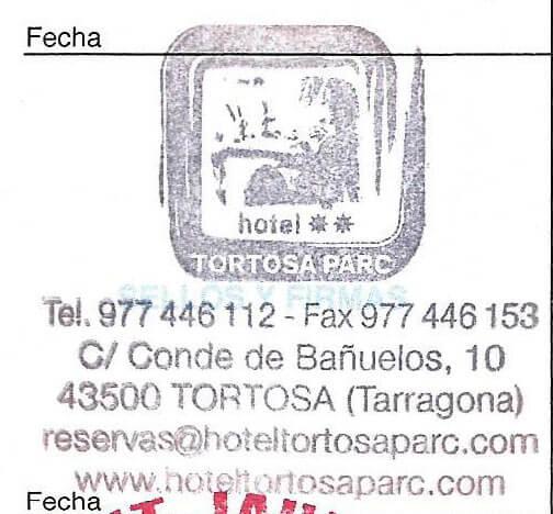 Sello del Hotel Tortosa Parc en Tortosa