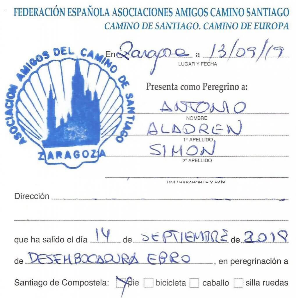 Esta es la primera hoja de la Credencial de Peregrino expedida en Zaragoza para este camino